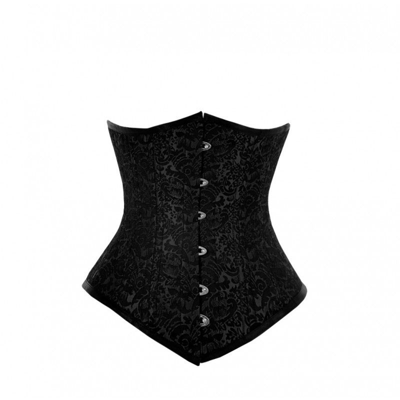 WT-025 - Long Black Brocade Pattern Waist Training Underbust the real thing great for my   Long body and square hips/waist real steel boning!