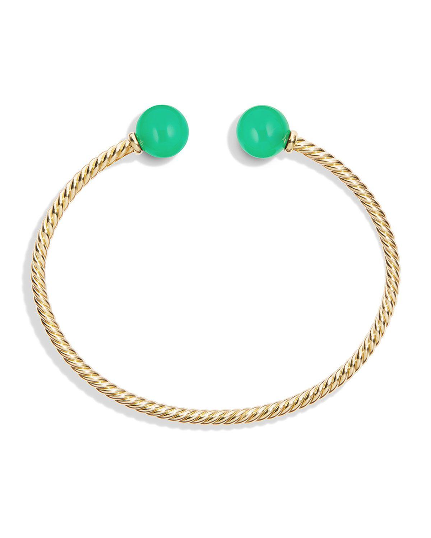 David Yurman 18kt yellow gold Solari chrysoprase bead cuff bracelet - Green akxkuY9