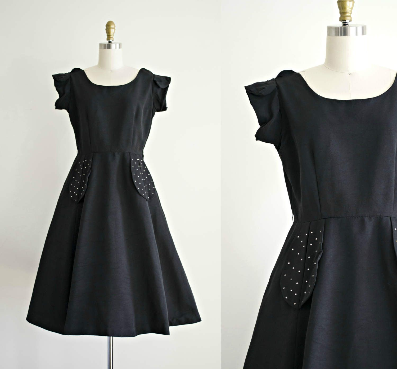 1950s cocktail dress . vintage 50s black faille party dress with ...