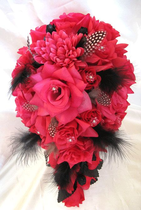 Wedding Bouquet Bridal Silk flowers Hot PINK FUCHSIA BLACK Feathers ...