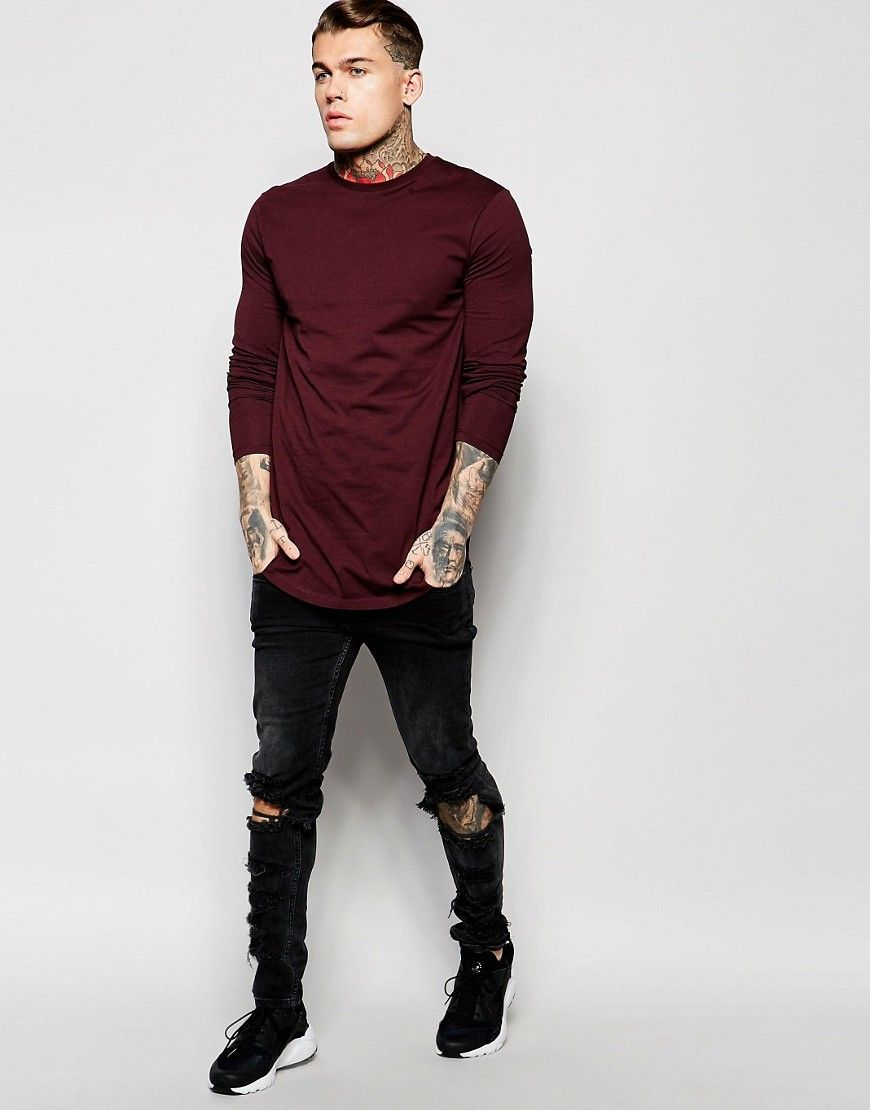 Image 4 of ASOS Longline Long Sleeve T-Shirt With Curve Hem In Burgundy e07bc365d20