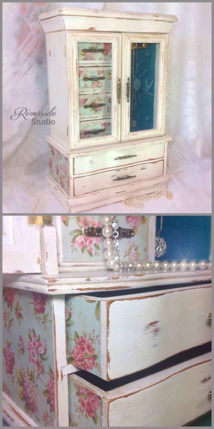 Huge 19Jewelry Box Shabby Chic Chalk Painted Distressed White
