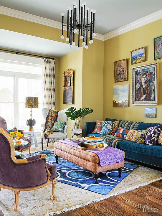 Rooms That Prove More Is More Eclectic Living Room Yellow Walls