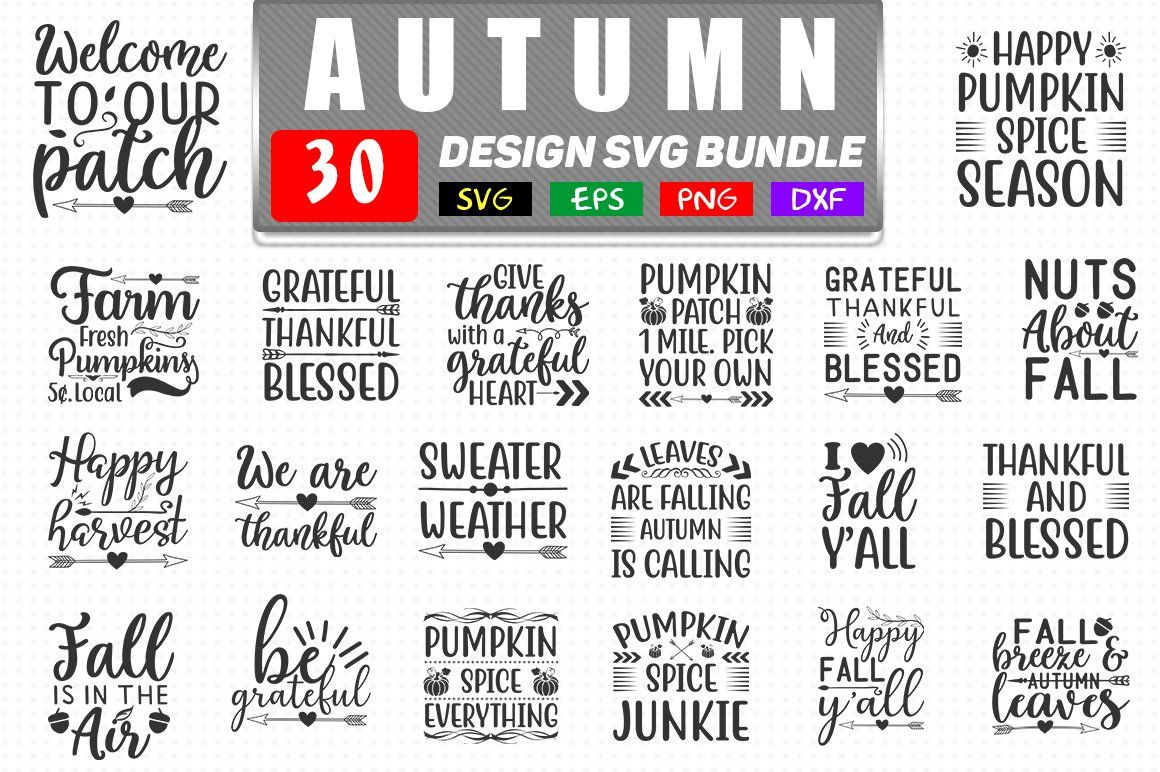 Autumn svg bundle Greeting card design, Printed