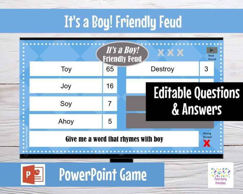 It's a Boy Baby Shower Friendly Feud - Editable PowerPoint Game - Customized Game - Baby Shower Part
