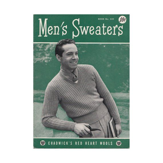 86abb9e80c 1940s Mens Sweaters Knitting Pattern Book Chadwicks Book 249 Classic V Neck  Pullover Cardigans Vests