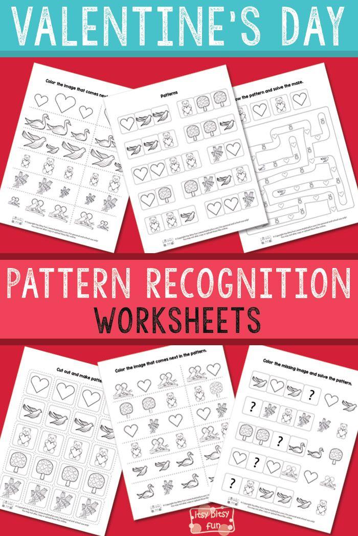 Valentine\'s Day Pattern Recognition Worksheets   Pattern ...