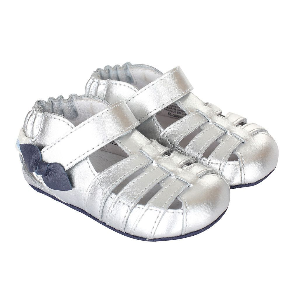 16481301152ca Robeez  Sara Sandal Mini Shoez Infant Toddler Girl (Silver ...