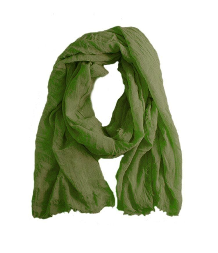 Olive green unisex summer scarf handmade large lime green in luxurious soft linen and modal mix.