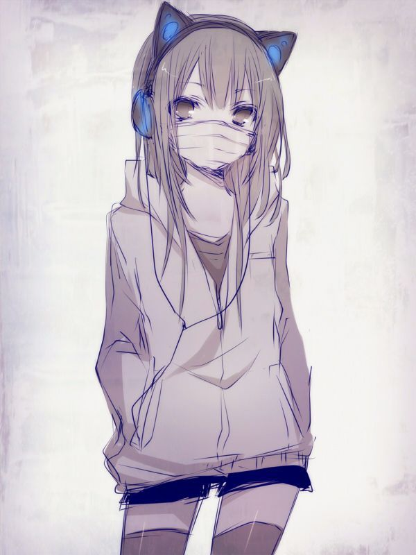Girl With Blue Headphones And Cat Ears Anime Anime Neko Anime