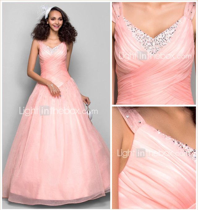 Ball Gown Princess Straps Floor Length Organza Prom Formal Evening ...