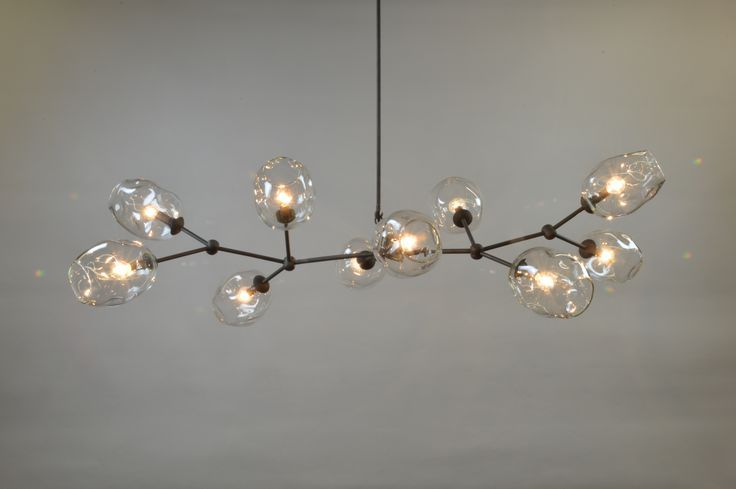 Horizontal Staccato Branch Chandelier With Clear Globes And Oil