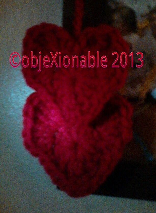 Red crochet Christmas hearts decoration