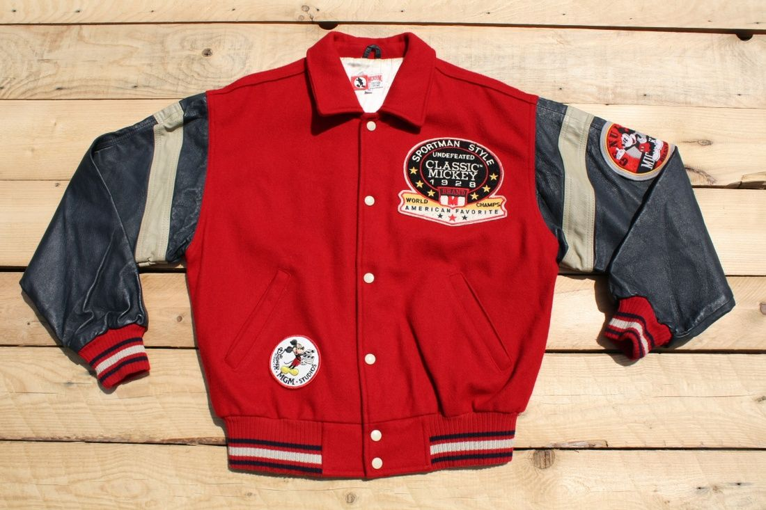 Disney College Jacket Bomber Varsity Vintage Mickey Mouse Walt Disney Red With Leather Sleeve And Embroided L College Jackets Sweatshirts Hoodie Leather Sleeve [ 733 x 1100 Pixel ]