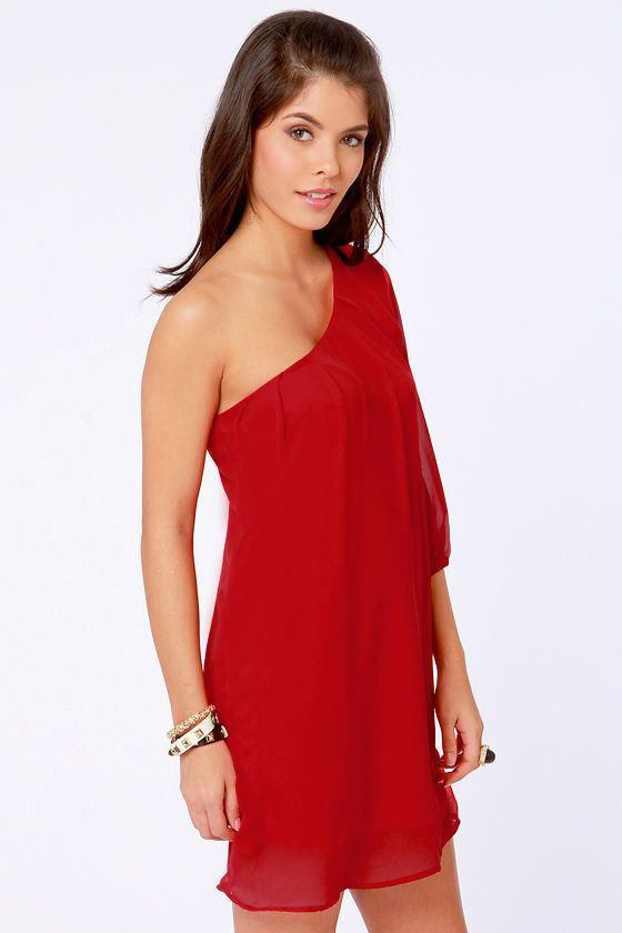 2cbf96ce2456ea Cute One Shoulder Dress - Red Dress - Shift Dress - $38.00 Recruitment!