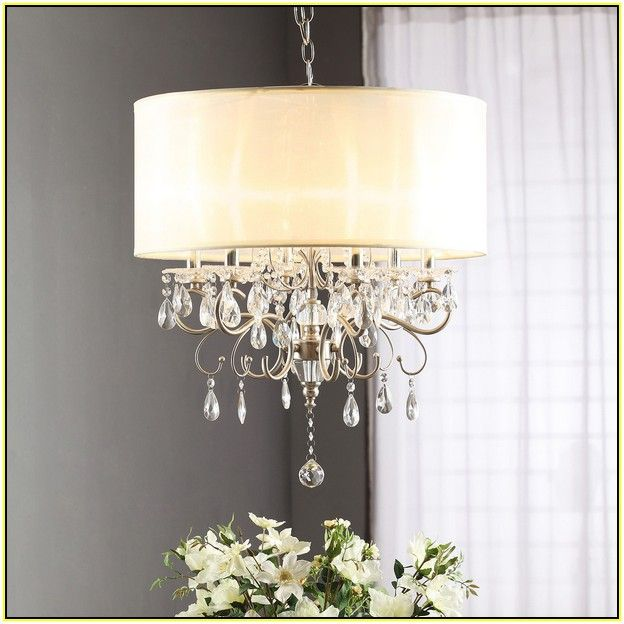 Nice Drum Shade Chandelier With Crystals