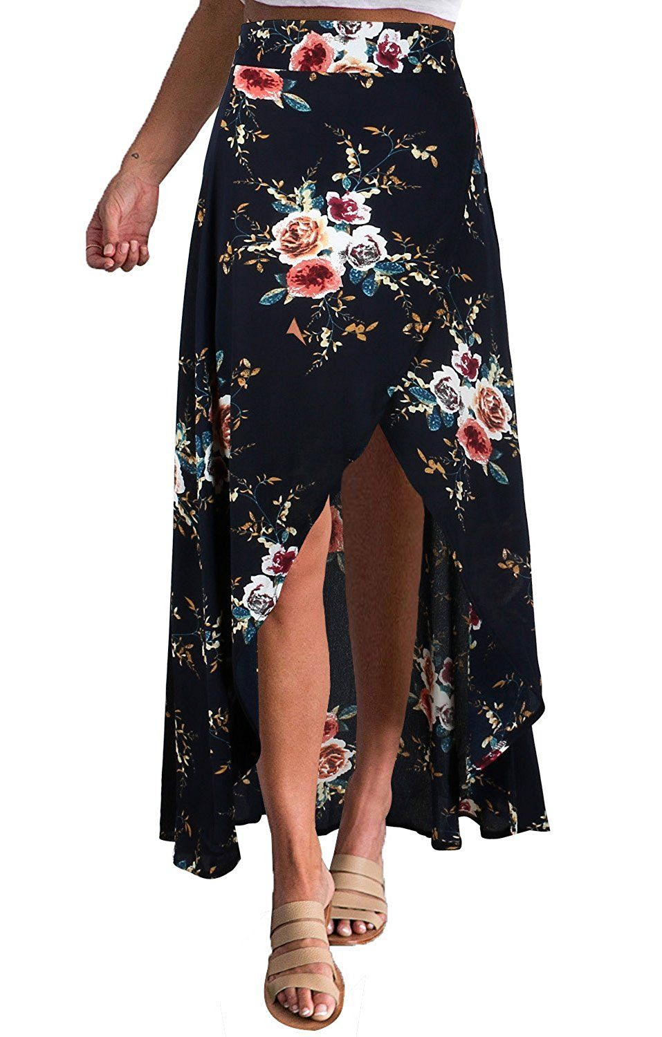 2ae1e10101 Yonala Womens Boho Floral Tie Up Waist Summer Beach Wrap Cover Up Maxi Skirt  at Amazon Women's Clothing store: