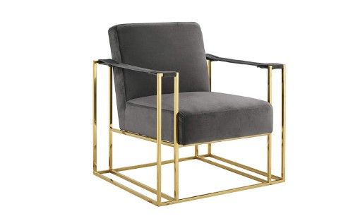 Classic and Elegant Living Room Velvet Armchair, Accent Chair with Gold Details, Blue is part of Elegant Living Room Gold - Modern and elegant living room accent chair with slingstyle arm rests  Gold coated hard metal frame with soft velvet upholstered seat cushion which are filled with high density foam for comfort  This modern chair will accentuate any home decor  Dimensions 30 3 W x 28 3 D x 32 3 H inches  Color Blue