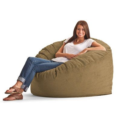 Fuf Bean Bag Chair Fabric Wide Wale Corduroy Coffee