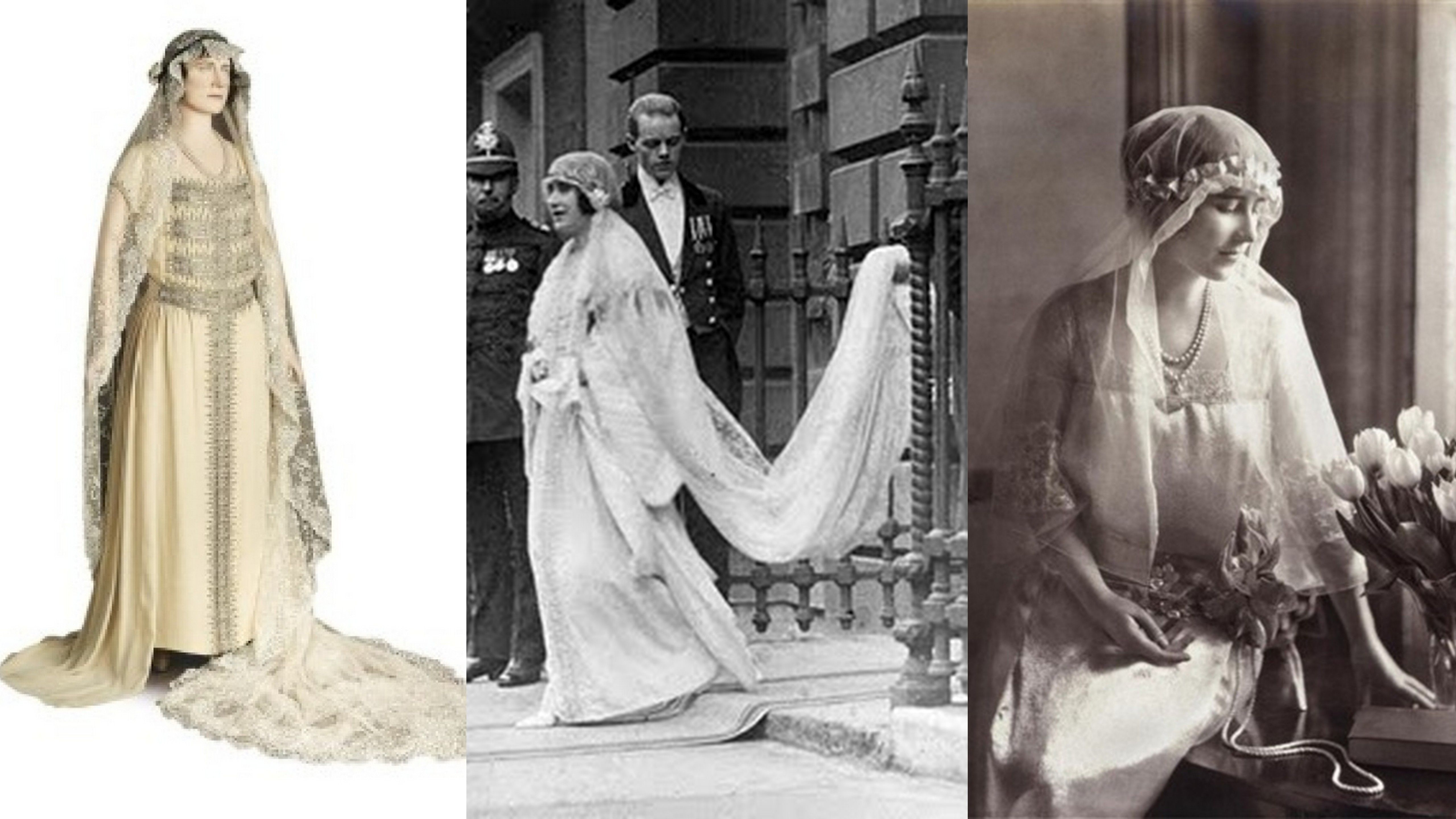 Lady Elizabeth Angela Marguerite Bowes Lyon Became Queen Elizabeth The Queen Consort To King George Vi Her Fashion Royal Weddings Royal Brides Lady Elizabeth