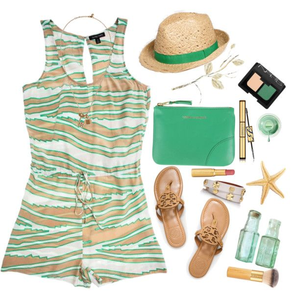 A fashion look from July 2013 featuring La Fée Verte rompers, Tory Burch sandals and Tory Burch bracelets. Browse and shop related looks.