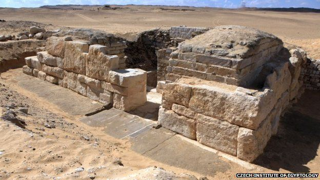 Overall view of the tomb of Queen Khentkaus III from the northeast. Abu-Sir was used as an Old Kingdom cemetery for the ancient Egyptian capital of Memphis. The tomb is thought to belong to the wife or mother of Pharaoh Neferefre who ruled 4,500 years ago. Egyptian Antiquities Minister Mamdouh el-Damaty said that her name, Khentakawess, had been found inscribed on a wall in the necropolis.