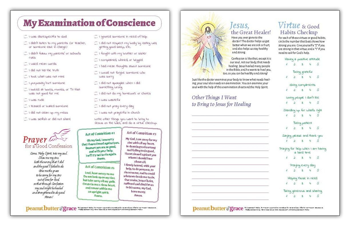 Examination Of Conscience For Kids Printable