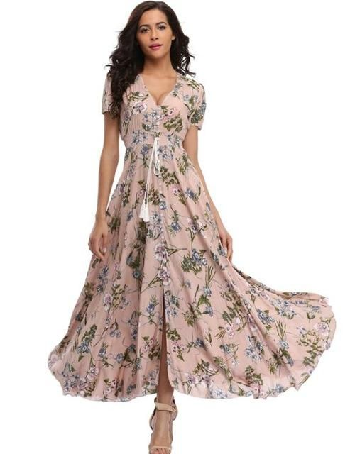 6de241ce58c3 Gender: Women Style: Bohemian Silhouette: A-Line Sleeve Length(cm): Short  Neckline: V-Neck Dresses Length: Ankle-Length Season: Summer Material:  Cotton ...