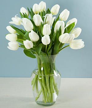 20 White Tulips Faux Flower Arrangements Flower Vase Arrangements Flower Arrangements Diy