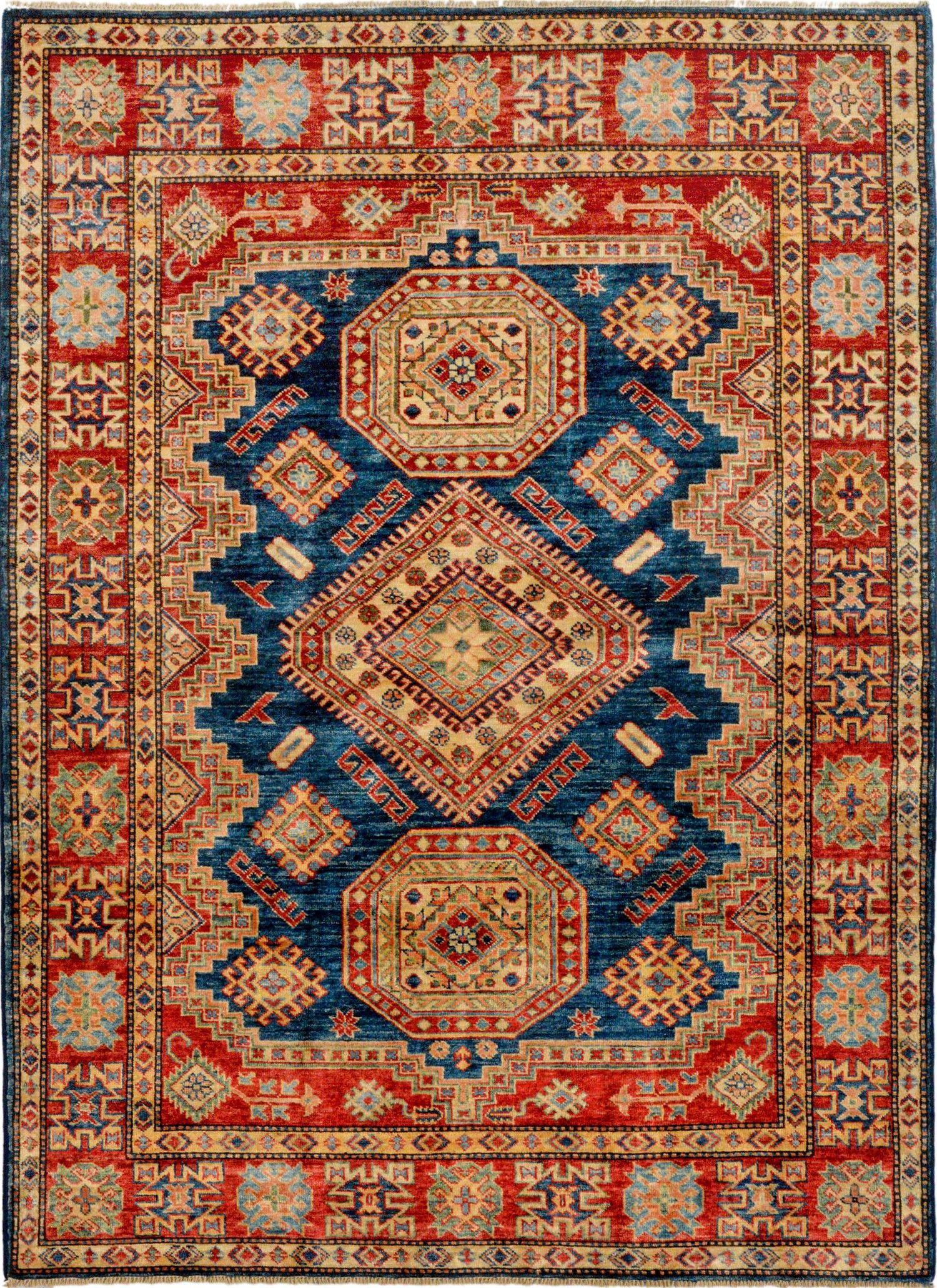 Handmade Afghan Blue Oriental Kazak Rug