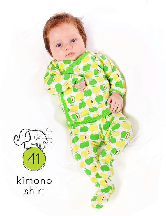 Baby kimono shirt sewing pattern // digital download // Preemie to ...