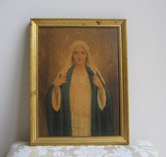 Vintage Immaculate Heart of Mary Wall Art Print by C. Bosseron Chambers Madonna Virgin & Vintage Immaculate Heart of Mary Wall Art Print by C. Bosseron ...