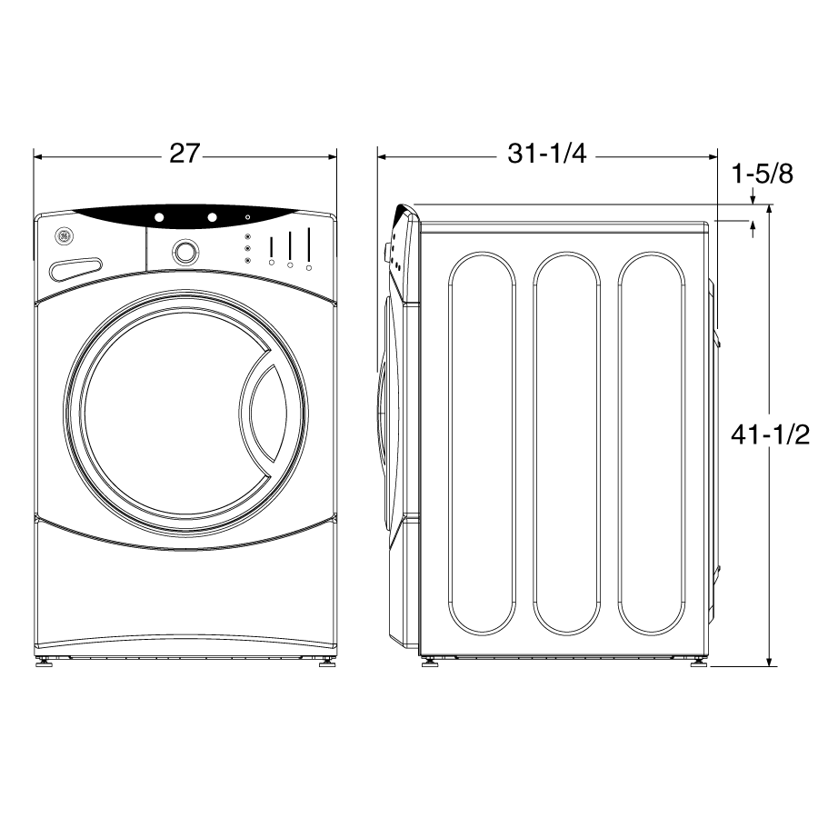 Standard dimension of washer and dryer google search for Washer dryer closet dimensions