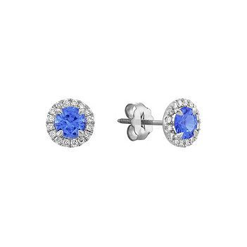 Halo Kentucky Blue Shire And Diamond Earrings Shane Co Two Round Dazzling Shires At Roximately 92 Carat Tw Are Surrounded By