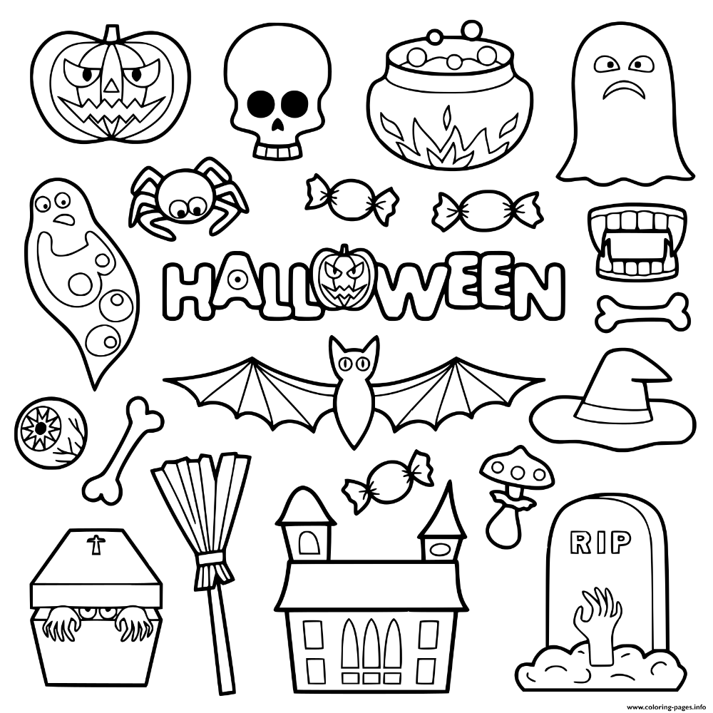 Print Halloween Objects For Kids Coloring Pages Kids Printable Coloring Pages Coloring For Kids Coloring Pages