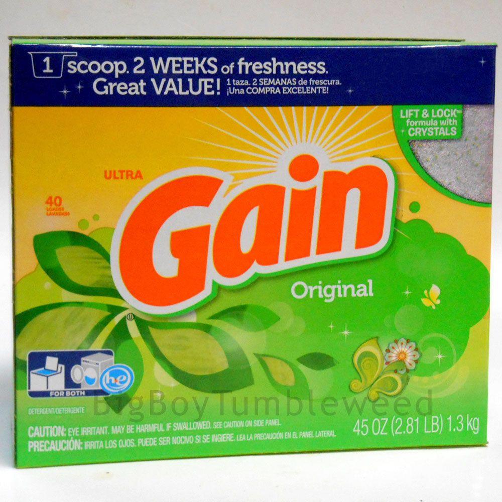 Gain Ultra Original Laundry Clothes Detergent Soap Powder 45 Oz