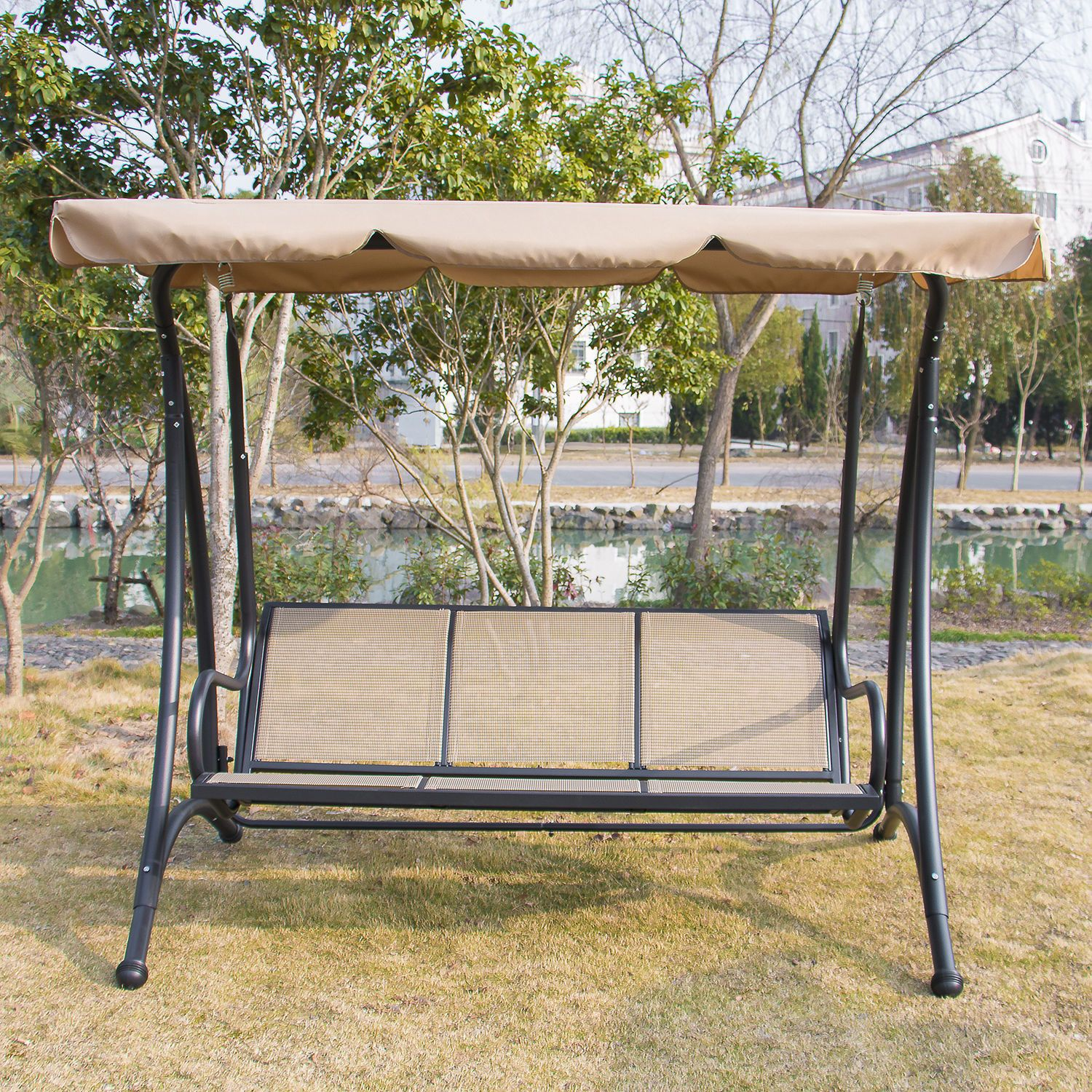 3 Person Outdoor Patio Heavy Duty Canopy Swing Tan