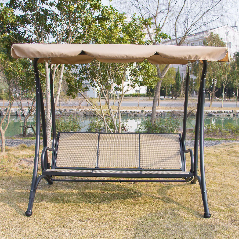 Person outdoor patio heavy duty canopy swing tan patio swing
