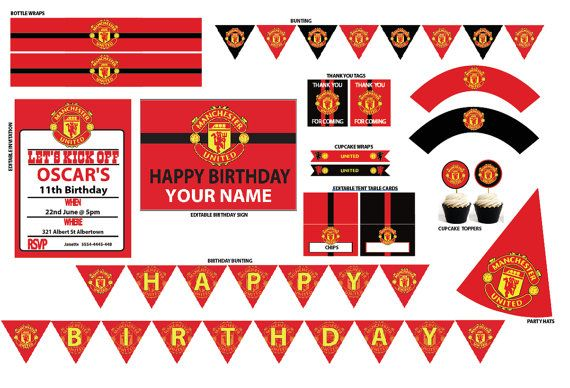 Manchester United Party Birthday Party Printable Instant Download Diy Birthday Decorations 21st Birthday Invitations Boy Birthday Parties