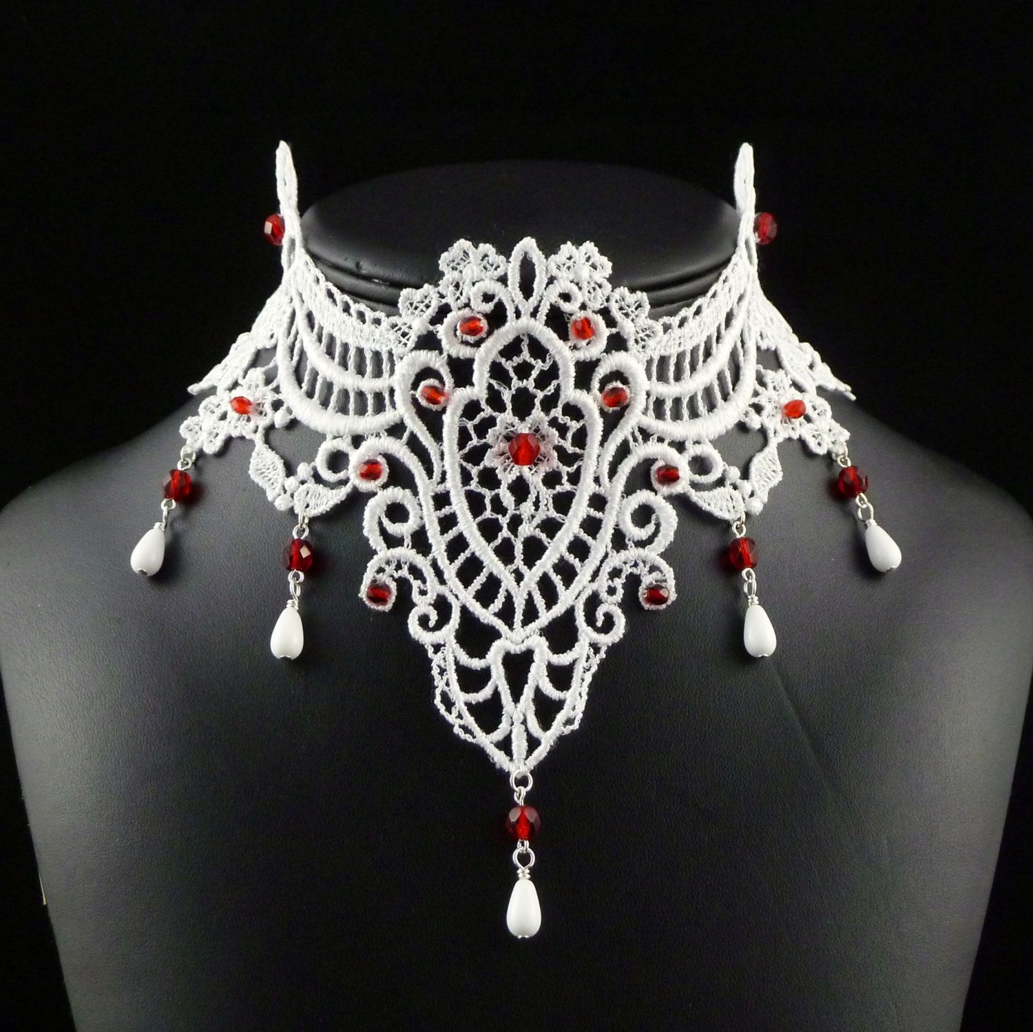 White Lace Choker Necklace with Red Glass Beads  - Victorian Bridal Jewelry for Women - Fabric Bride Chocker. $78.00, via Etsy.