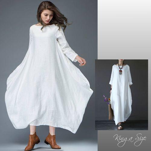 Lagenlook Kleid Maxikleid weiß Gr.46 | Kleidung mode, Mode ...
