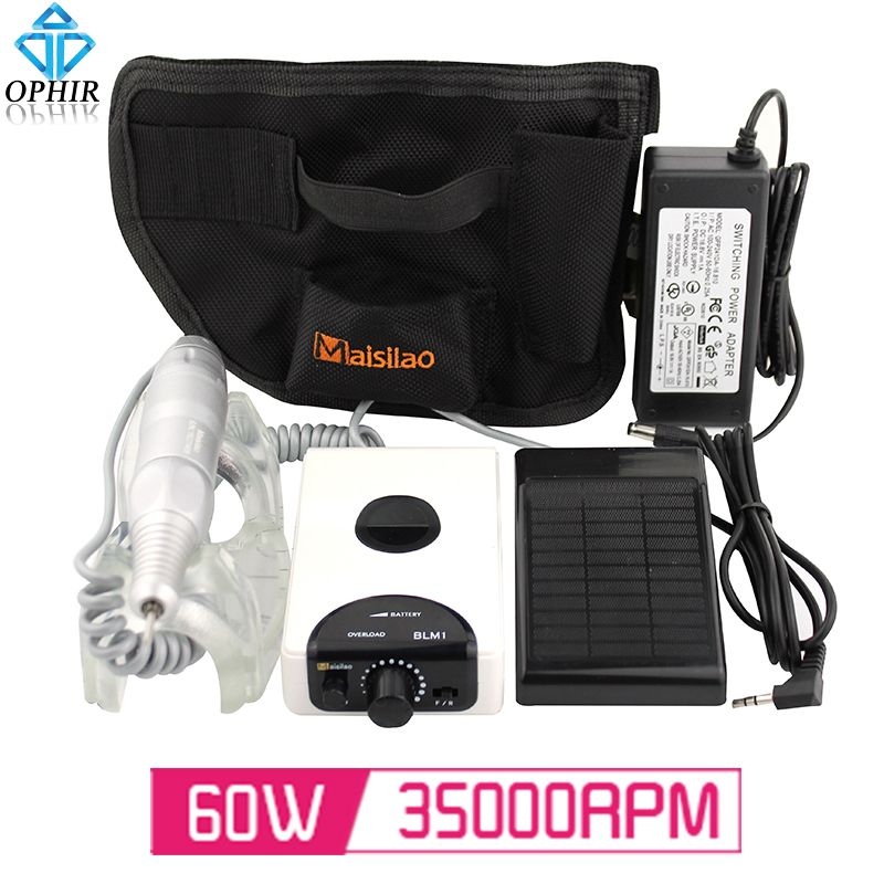 Rechargeable 60W 35000RPM Electric Nail Drill Machine Manicure ...
