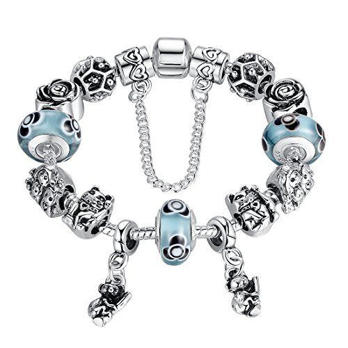OPEN FLOWERS with PEARLS CHARM Bead Sterling Silver.925 4 European Bracelets 587
