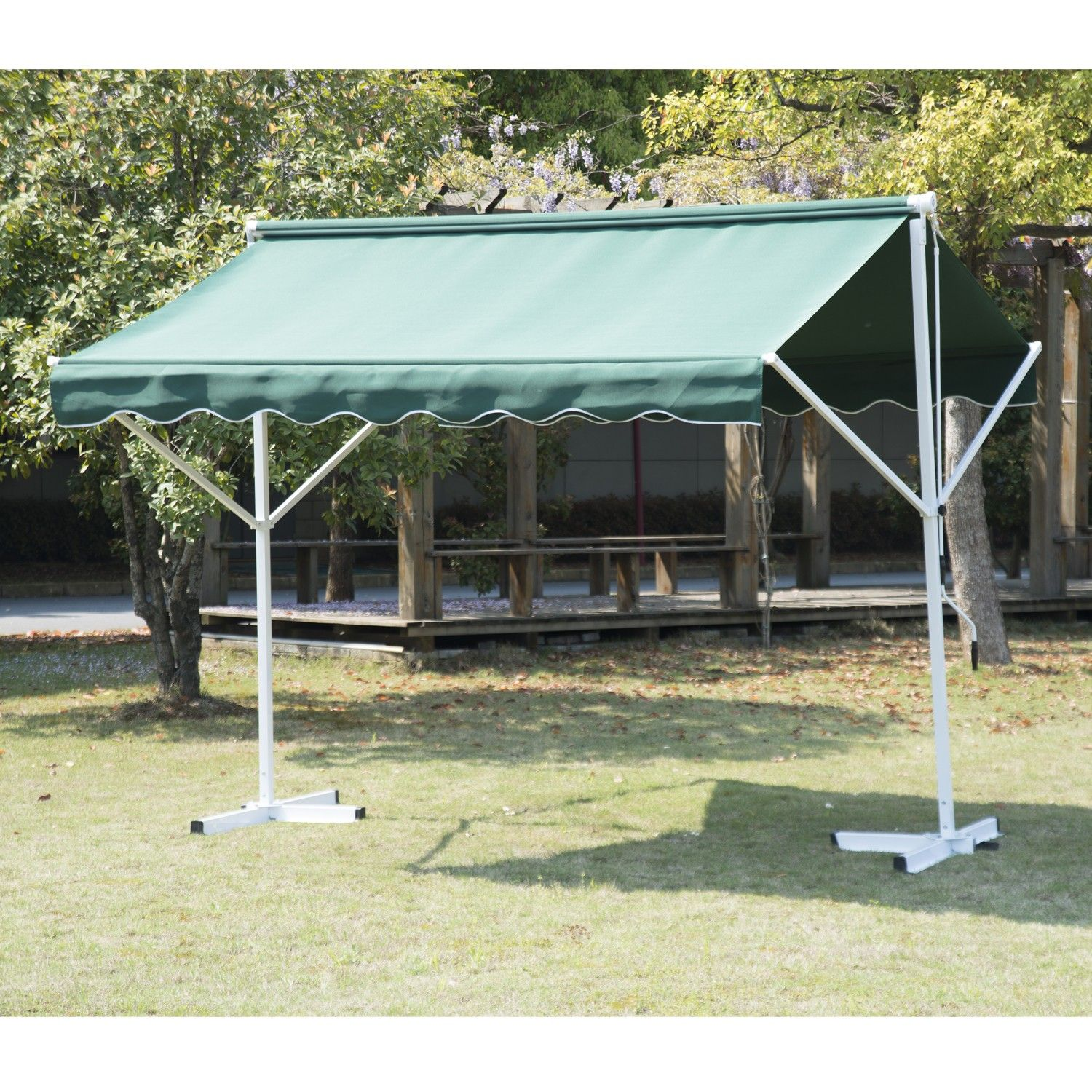 waterproof front sun manual patio cover shelter shade retractable canopy rain outdoor living back awning door outsunny