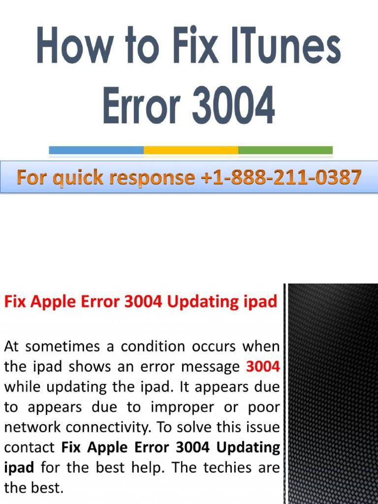 I'm reading 1-888-211-0387 How to Fix Apple Error Code 3004 on