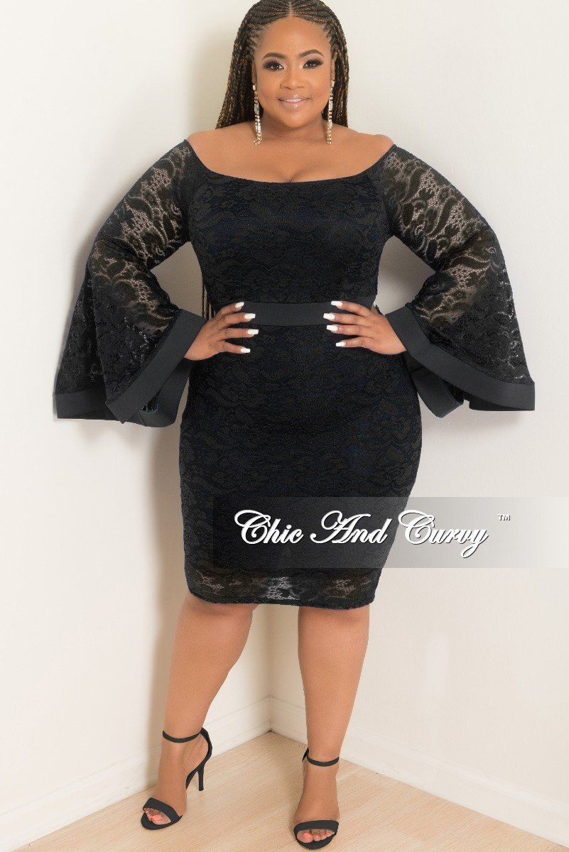 c0bc2f6a50 Final Sale Plus Size Off the Shoulder Bell Sleeve Lace Dress with ...