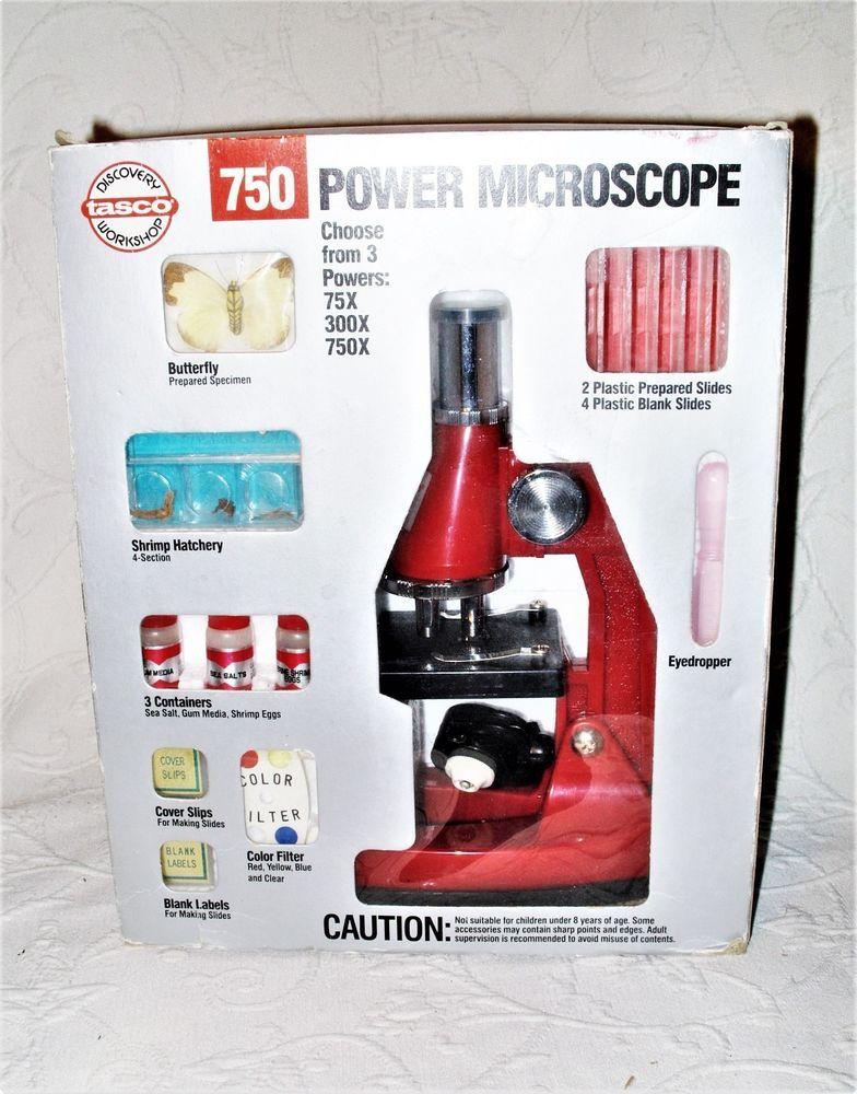1990 Tasco Discovery Workshop Model#: 60750-0 750X Microscope Kit New Old Stock #Tasco