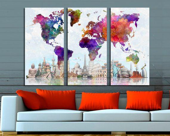 Art for homeoffice wall decor /& interior design. 3 Panel Split Abstract World Map Canvas Print,1.5 deep frames,Triptych