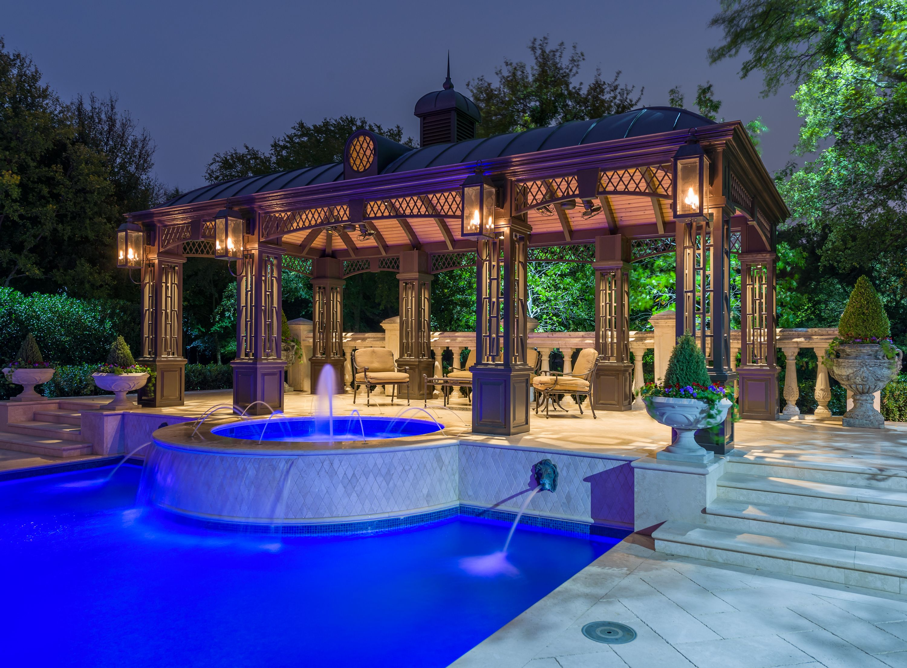 Custom Cabana And Luxurious Outdoor Spa After A Day In