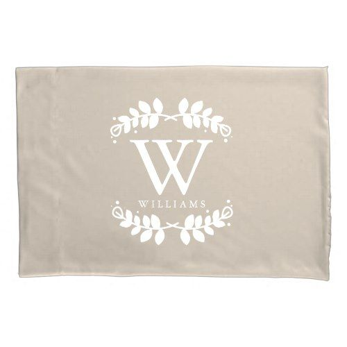 Linen Beige Monogrammed Pillow Case
